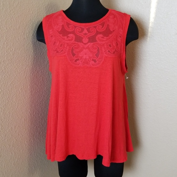 Free People Tops - Free People Cut Out Mesh Linen Blend Top
